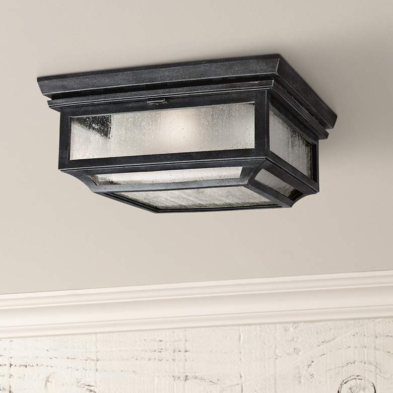 "Feiss Shepherd 13""W Weathered Zinc Outdoor Ceiling Light"