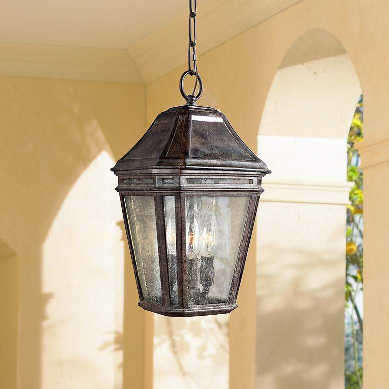 "Feiss Londontowne 15"" High Chestnut Outdoor Hanging Light"