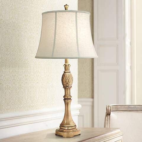 Stiffel Royal Maui Polished Honey Brass Metal Table Lamp