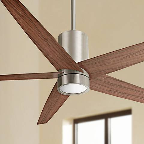 "56"" Minka Aire Symbio Walnut - Nickel LED Ceiling Fan"
