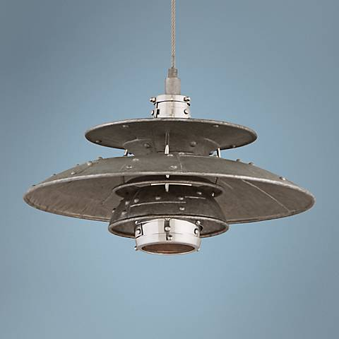 "Idlewild 18"" Wide LED Aviation Salvage Metal Pendant"