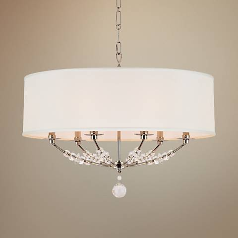 "Crystorama Mirage 30"" Wide Polished Nickel Pendant Light"