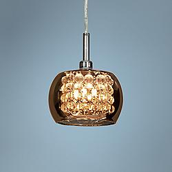 "Glam 5"" Wide Smoke Mirror 1-Light Chrome Mini Pendant"