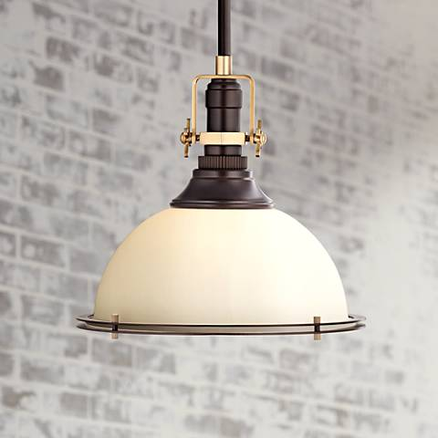 "Raleigh 17""W Oil-Rubbed Bronze and Antique Brass Pendant"