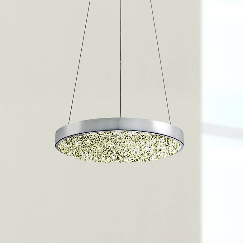 "Sonneman Dazzle 12"" Wide Fused Glass Chrome LED Mini Pendant"
