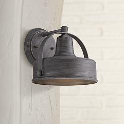 "Portland 9 3/4"" High Pewter Finish Outdoor Wall Sconce"