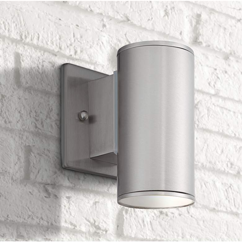 "Barrow 6"" High Satin Platinum LED Outdoor Wall"