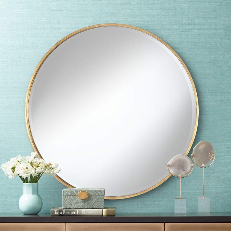 "Uttermost Mayfair Antique Gold 34"" Round Wall Mirror"