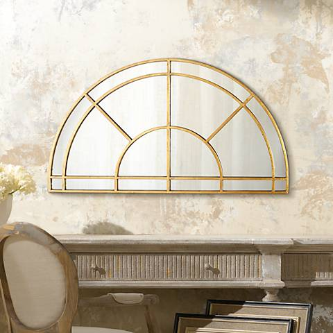 "Aurelie Gold 47 3/4"" x 26 1/2"" Half Circle Wall Mirror"