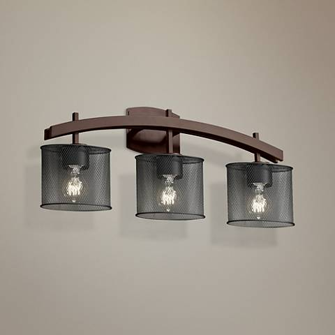 "Archway Mesh 25 1/2"" Wide 3-Light Dark Bronze Bath Light"