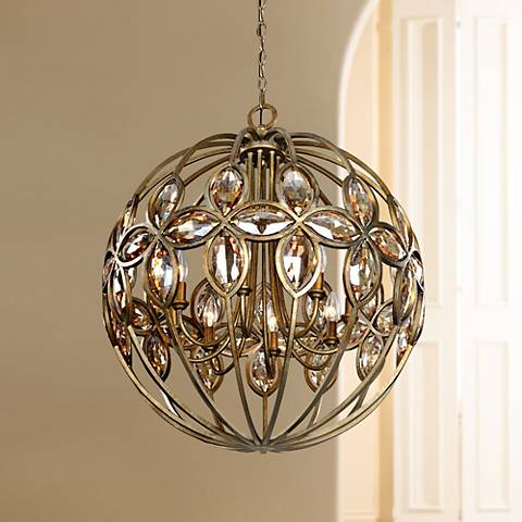 "Uttermost Ambre 25"" Wide Gold 8-Light Chandelier"