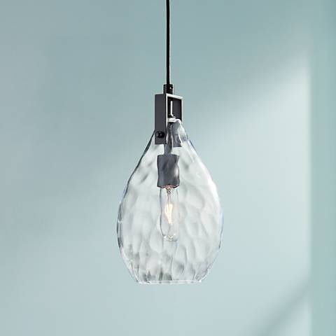 "Uttermost Campester 9"" Wide Black and Clear Mini Pendant"