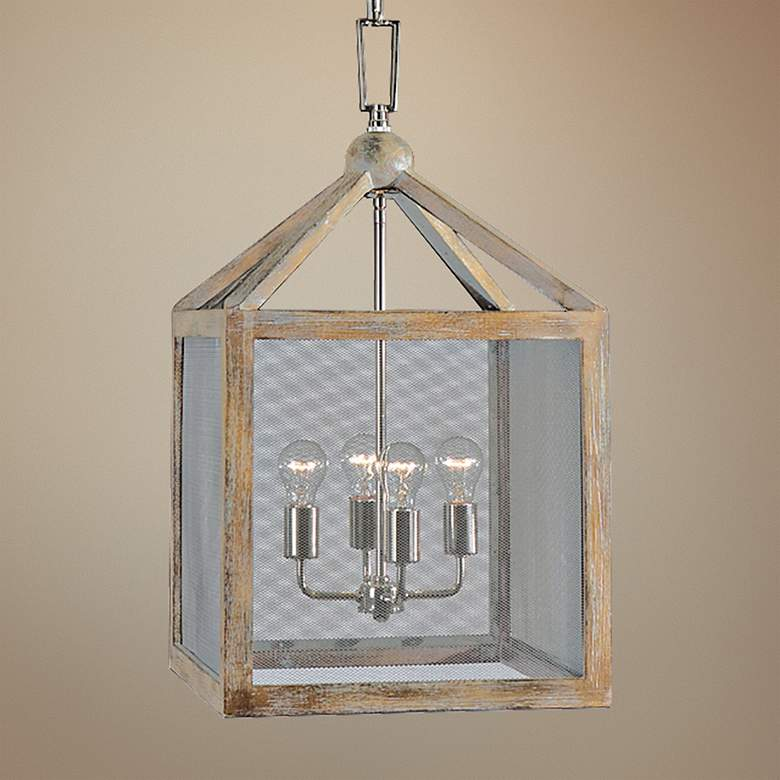 "Uttermost Nashua 16"" Wide Wooden 4-Light Pendant"