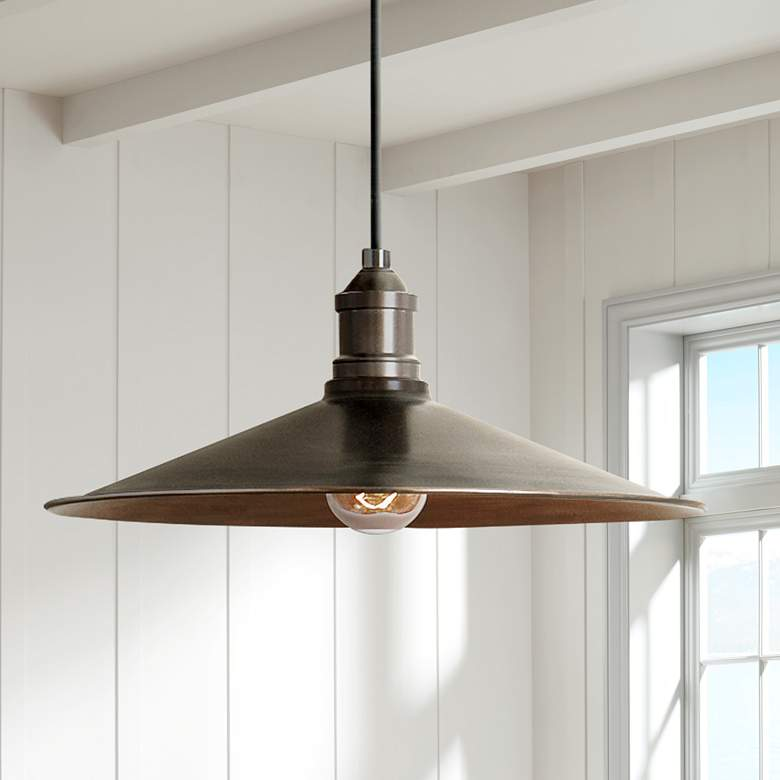 "Uttermost Barnstead 14"" Wide Antique Copper Pendant"