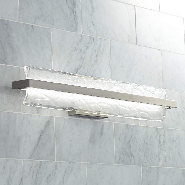"Platinum Glacial 30"" Wide Nickel LED Bathroom Light"