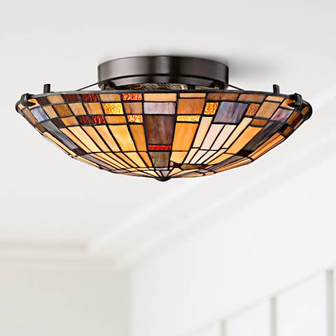 "Quoizel Inglenook 16 1/2"" Wide Valiant Bronze Ceiling Light"