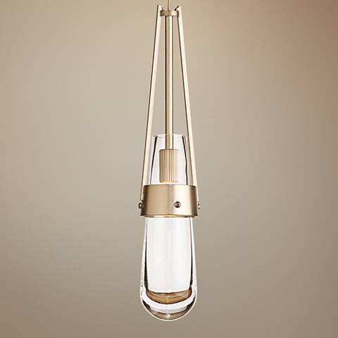 "Hubbardton Forge Link Gold 3""W Clear Glass Mini Pendant"