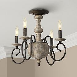 "Quoizel Castile 18"" Wide Rustic Black Ceiling Light"