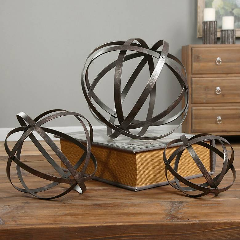 Uttermost Stetson 3-Piece Dark Bronze Sphere Set