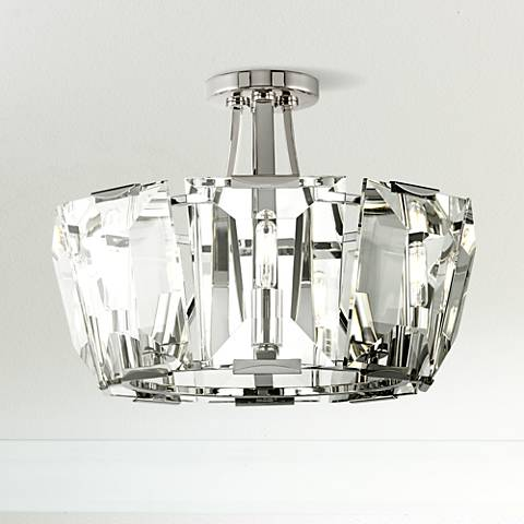 "Castle Aurora 17 1/2"" Wide Crystal Panel Ceiling Light"