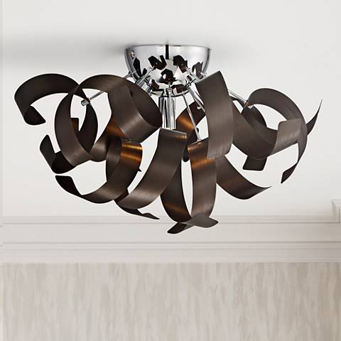 "Quoizel Ribbons 16 1/2"" Wide Western Bronze Ceiling Light"