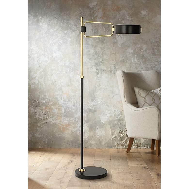 "Simon 56 3/4"" High Black-Brass Floor Lamp by"