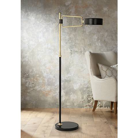 Simon Black and Brass Floor Lamp by Robert Abbey