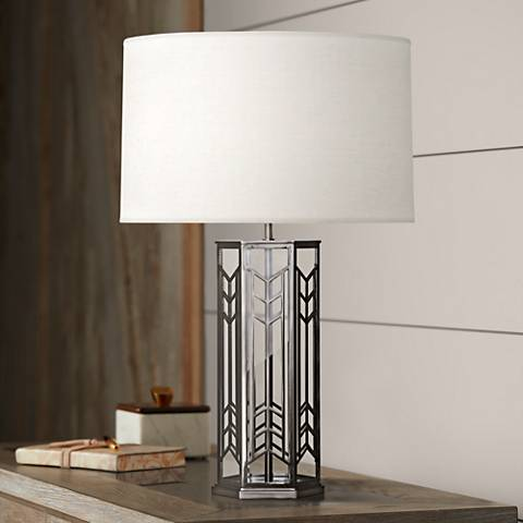 Robert Abbey Octavius Blackened Nickel Steel Table Lamp