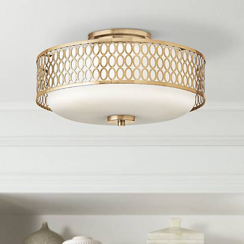 "Hinkley Jules 8 1/4"" High Brushed Gold Ceiling Light"