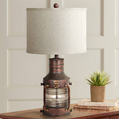 Crestview Rubbed Copper Lantern Table Lamp and Nightlight