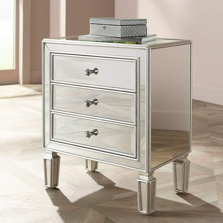"Aneta 22"" Wide Mirrored and Silver Leaf Accent Table"