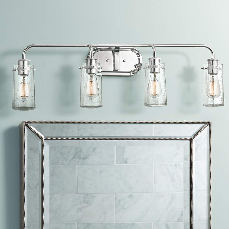 "Kichler Braelyn 4-Light 34 1/4""W Seedy Glass Bath"