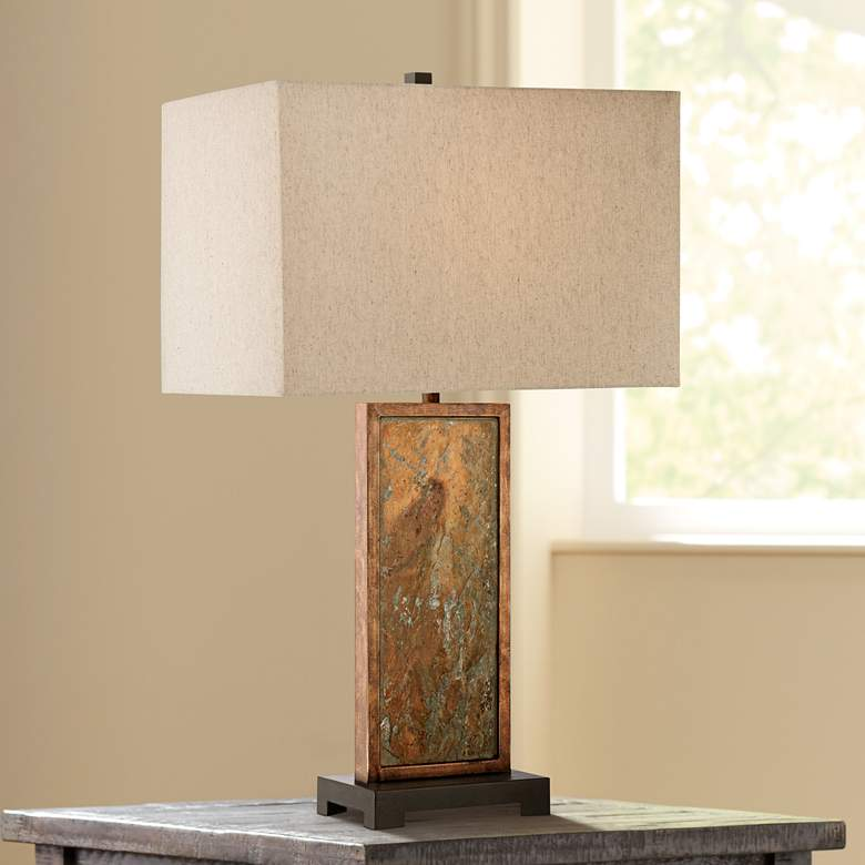 Franklin Iron Works Yukon Slate Table Lamp