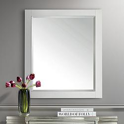 "Avanity White 28"" x 32"" Decorative Vanity Mirror"