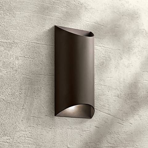 "Kichler Wesley 14"" High LED Bronze Outdoor Wall Light"