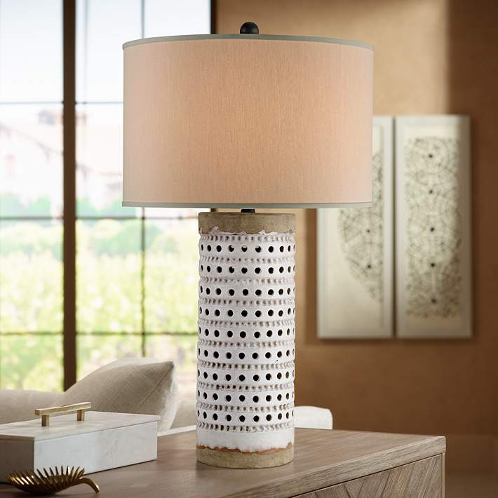 Currey And Company Terrace Antique White Crackle Table Lamp 8w085 Lamps Plus
