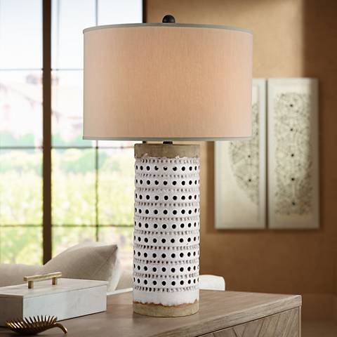 Currey and Company Terrace Antique White Crackle Table Lamp