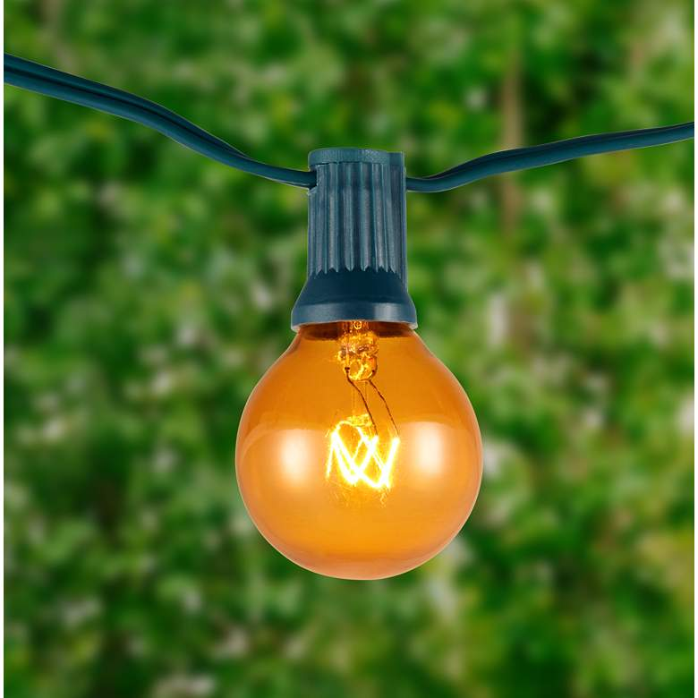 Amber 24-Bulb Green Wire 25' Holiday Party String