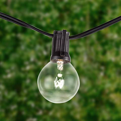 Clear Bulb 24-Light Black Cord 25-Foot Party Light String