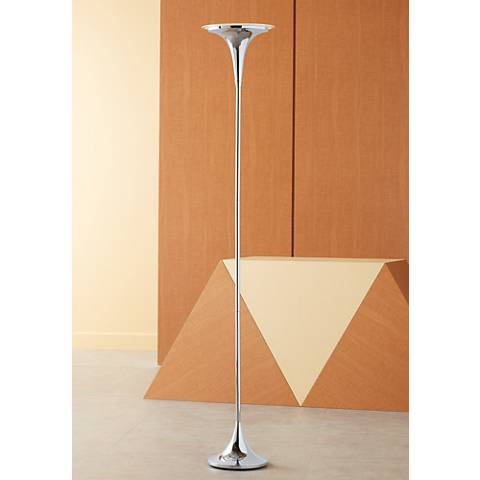 Possini Euro Sentry Chrome LED Torchiere Floor Lamp