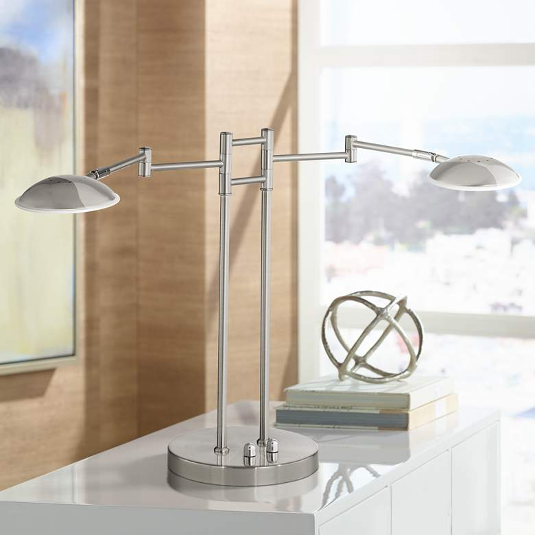 Possini Euro Journey Satin Nickel Swing Arm LED Desk Lamp