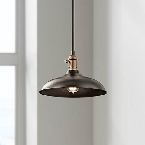 "Cobson 12""W Bronze Semi-Flush Convertible Mini Pendant"
