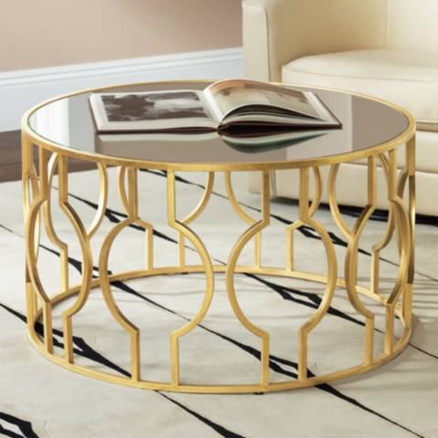 Fara Antique Gold Leaf Round Coffee Table 8w857 Lamps