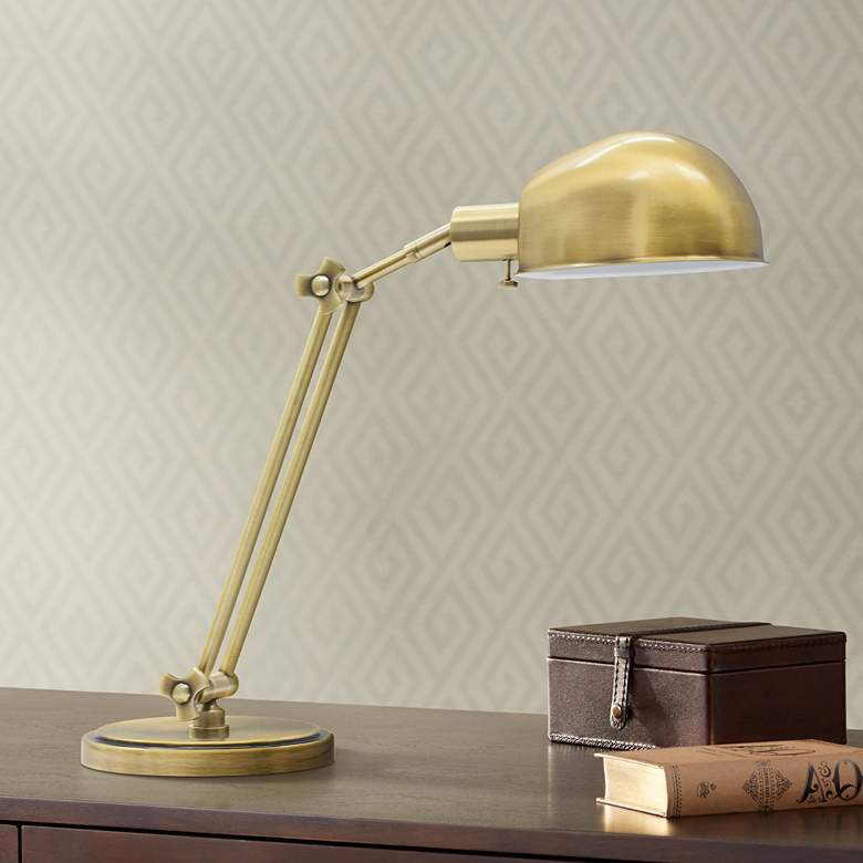 Peachy House Of Troy Addison Adjustable Antique Brass Desk Lamp Download Free Architecture Designs Viewormadebymaigaardcom