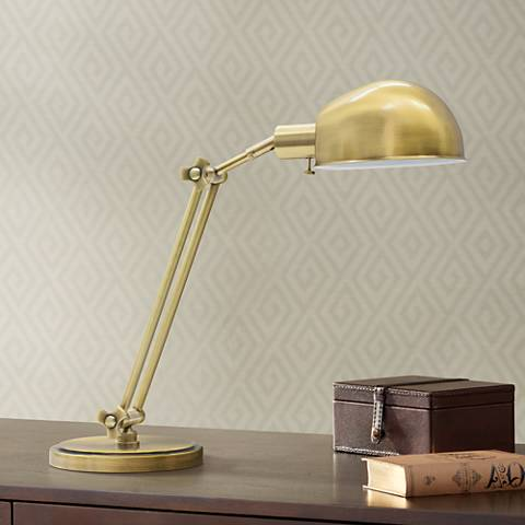 House of Troy Addison Adjustable Antique Brass Desk Lamp