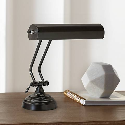 House of Troy Advent 2-Arm Black Steel Piano Desk Lamp