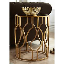 "Fara 20"" Wide Gold and Mirrored Top Round End Table"