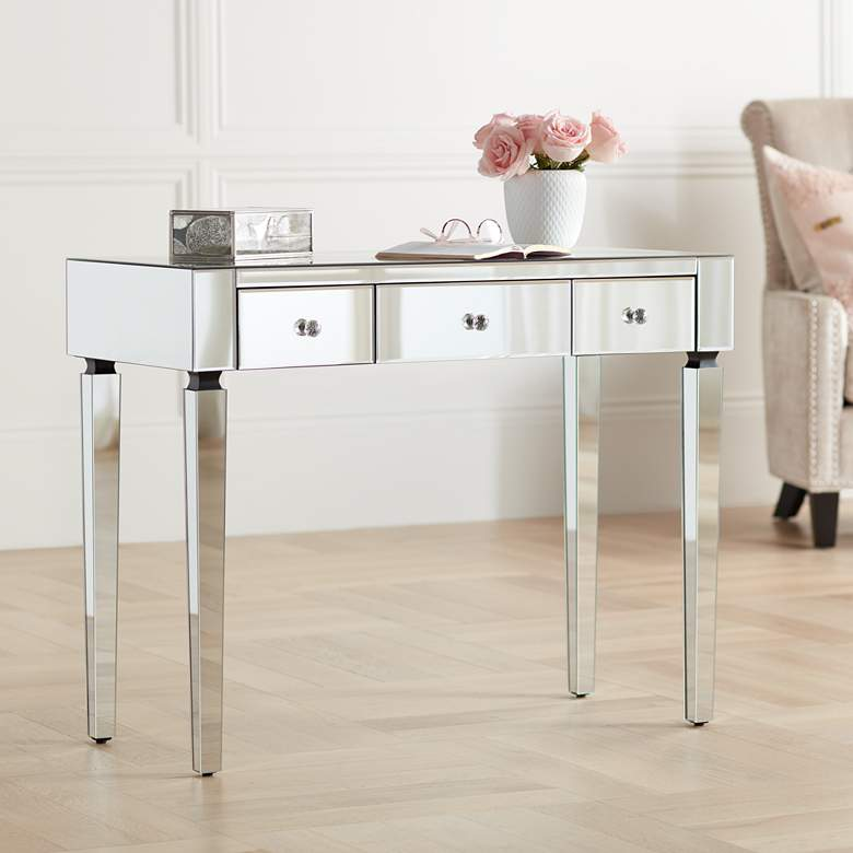 "Thea 39 1/2"" Wide 3-Drawer Mirrored Small Desk"