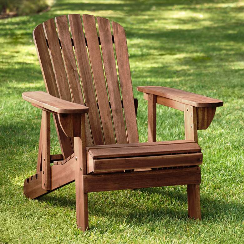 Fletcher Dark Wood Outdoor Reclining Adirondack Chair