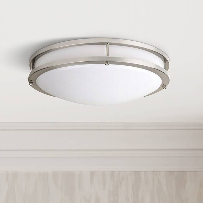 "Effie 12"" Wide Nickel Round LED Ceiling Light"
